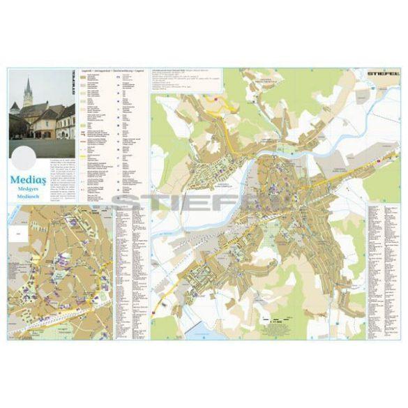 Medgyes város (Románia) térképe, tűzhető, keretes
