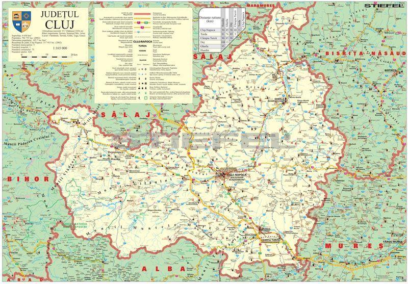 Kolozsvar Megye Romania Terkepe Tuzheto Keretes
