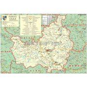 Kolozsvár megye (Románia) térképe, tűzhető, keretes