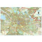 Bukarest város (Románia) térképe, tűzhető, keretes