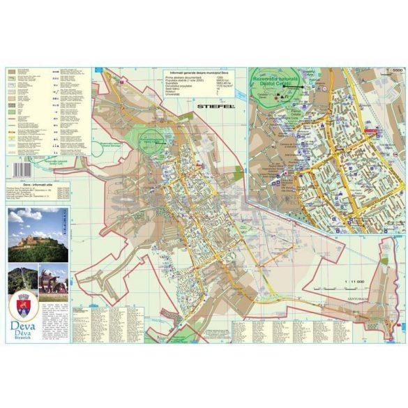 Déva város (Románia) hajtogatott térképe