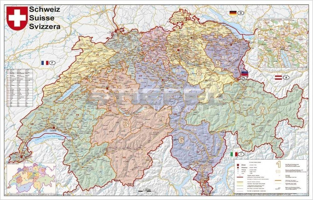 európa térkép svájc Svájc irányítószámos térképe (fóliás fémléces) európa térkép svájc