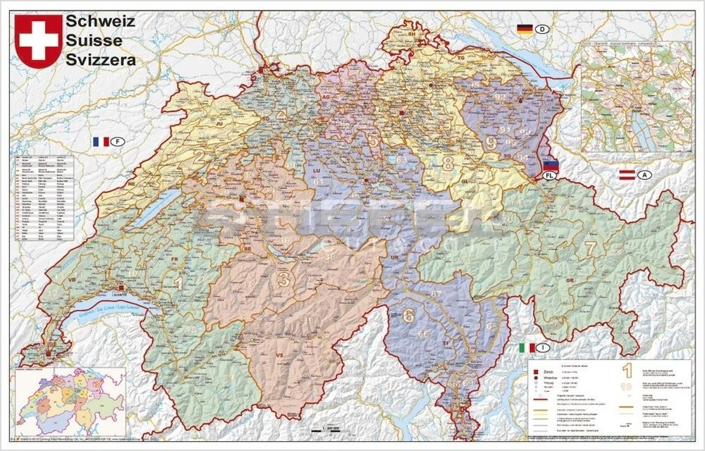 svájc térkép Svájc irányítószámos térképe (fóliás fémléces)