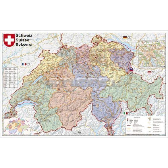 Svájc irányítószámos térképe (tűzhető, keretes)