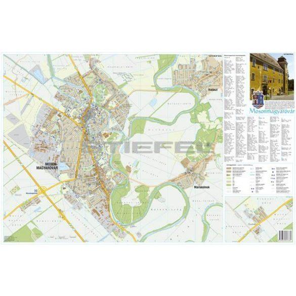 Mosonmagyaróvár város térképe, tűzhető, keretes