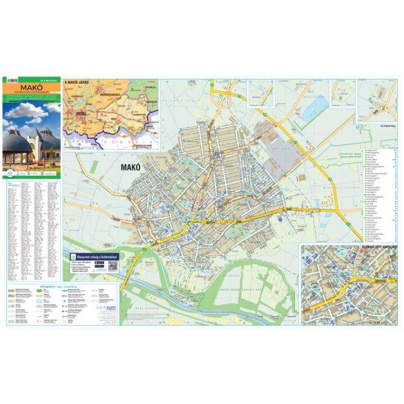 Makó tűzhető, keretezett várostérképe