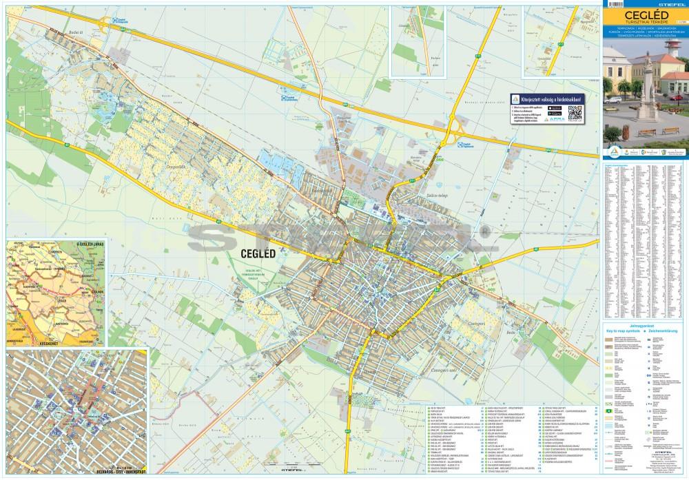 cegléd térkép Cegléd térkép, fémléces fóliázott