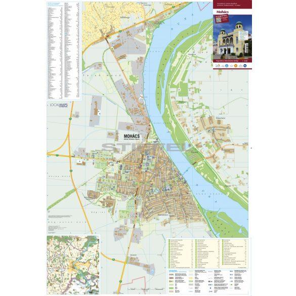 Mohács tűzhető, keretezett várostérképe
