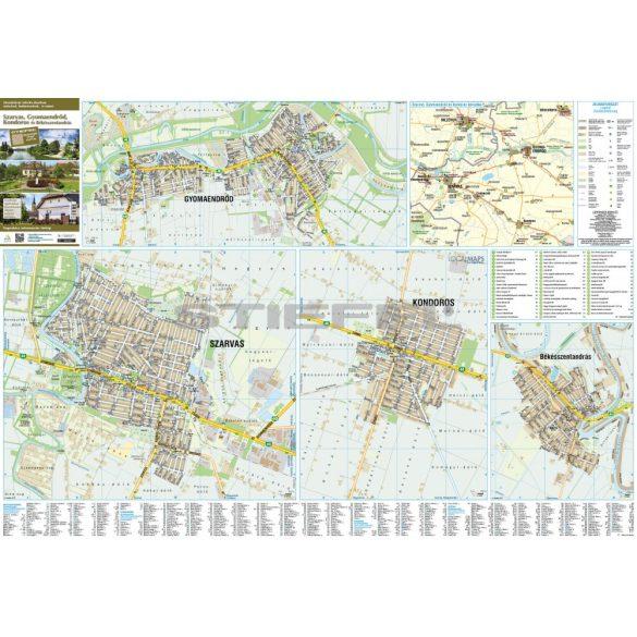 Szarvas-Gyomaendrőd-Kondoros tűzhető, keretezett térképe