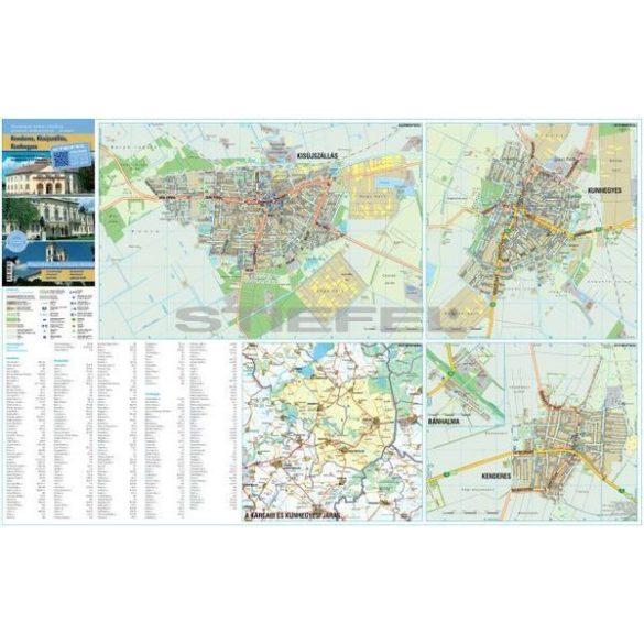 Kisújszállás Kenderes Kunhegyes hajtogatott várostérképe