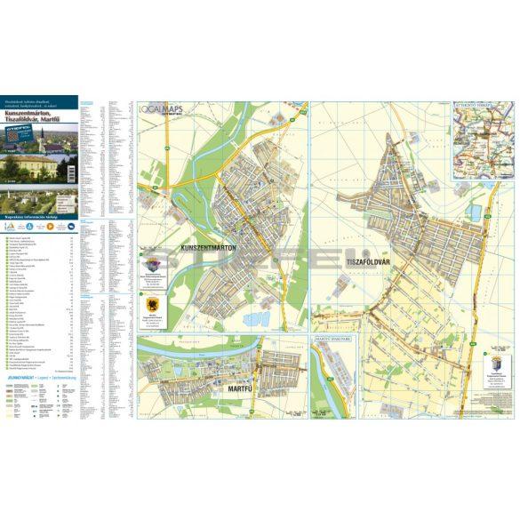 Kunszentmárton-Tiszaföldvár-Martfű tűzhető, keretezett várostérképe