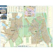 Békés-Mezőberény tűzhető, keretezett térképe