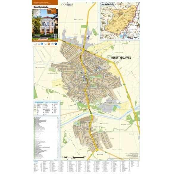 Berettyóújfalu tűzött, keretezett várostérképe