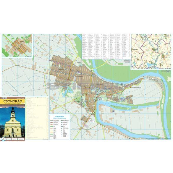 Csongrád tűzhető, keretezett várostérképe