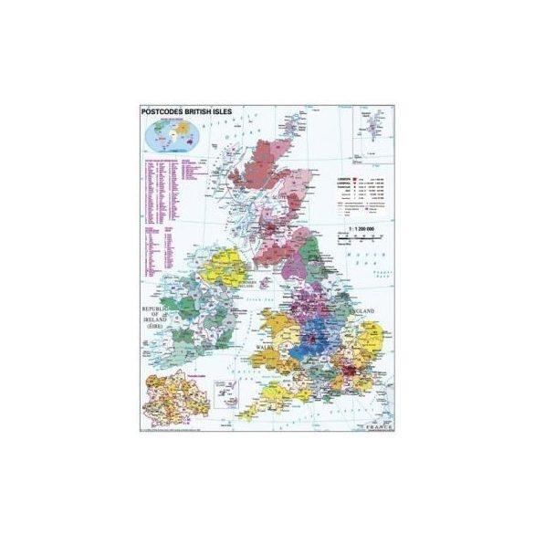 Nagy-Britannia irányítószámos térképe, tűzhető, keretes