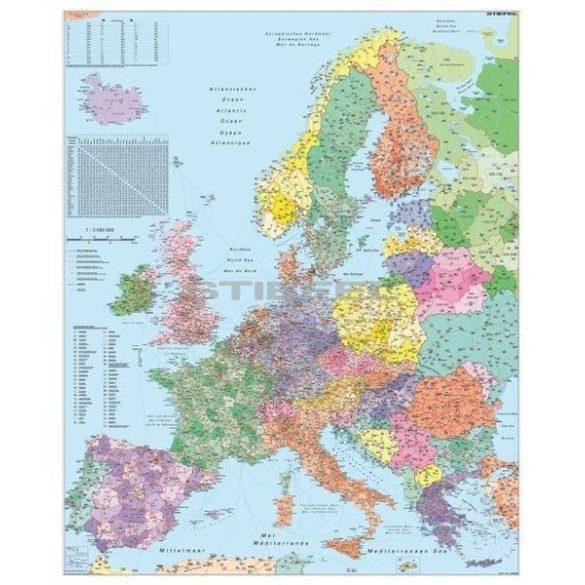 Európa irányítószámos térképe (nemzetközi), tűzhető, keretes