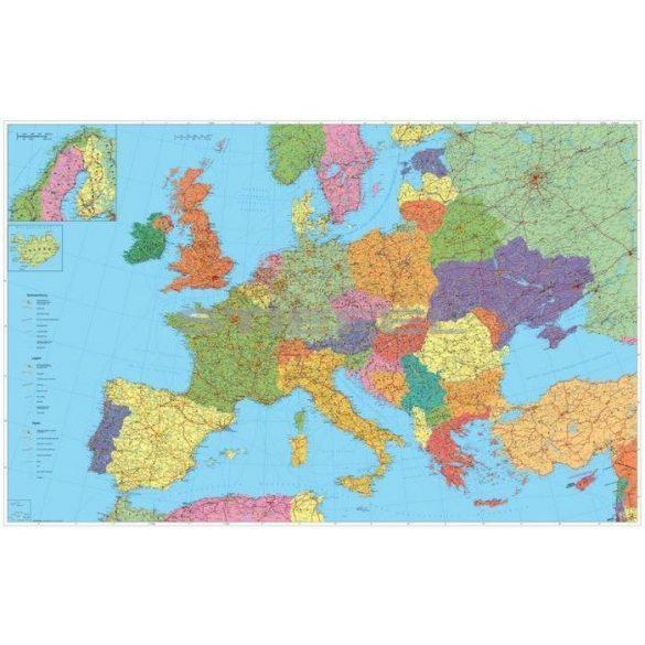 Európa autótérkép fóliázott lécezett