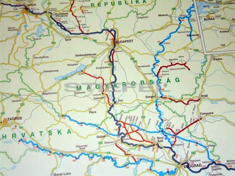 duna térkép A Duna hajózási térképe, Európa víziúthálózata (írható törölhető