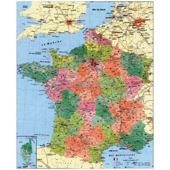 Franciaország megyéi és postai irányítószámos térképe, tűzhető, keretes