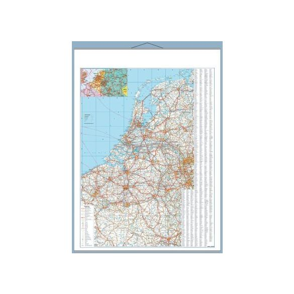 Benelux államok autótérképe tűzhető, keretes