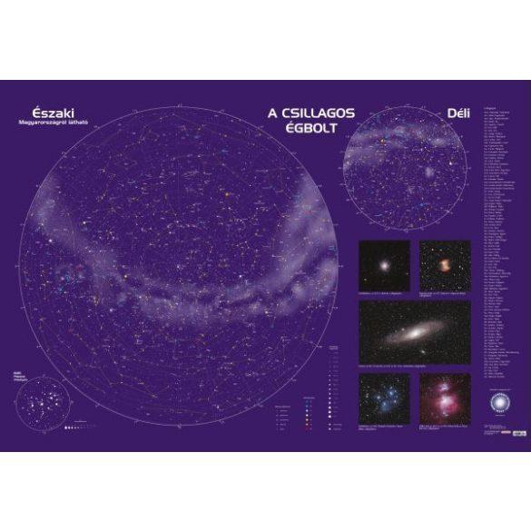 A csillagos égbolt fóliás-fémléces (latin és magyar feliratokkal)