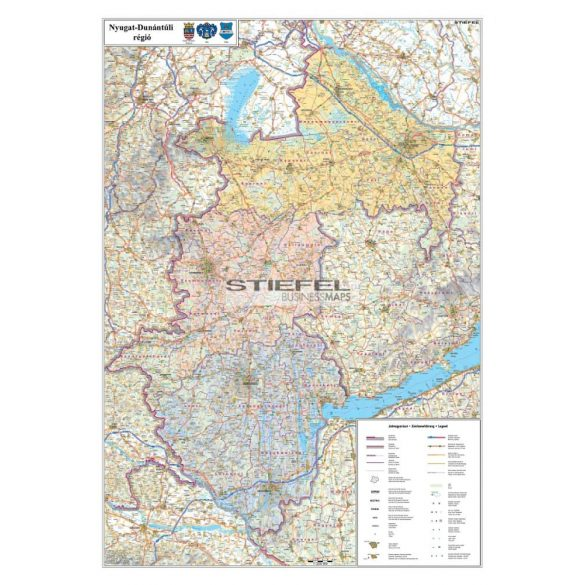 A Nyugat-Dunántúli régió térképe, tűzhető, keretes