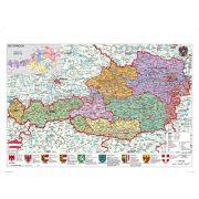 Ausztria közigazgatása térkép fóliás-fémléces