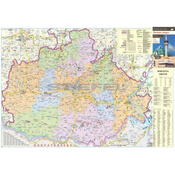Baranya megye térkép, fémléces