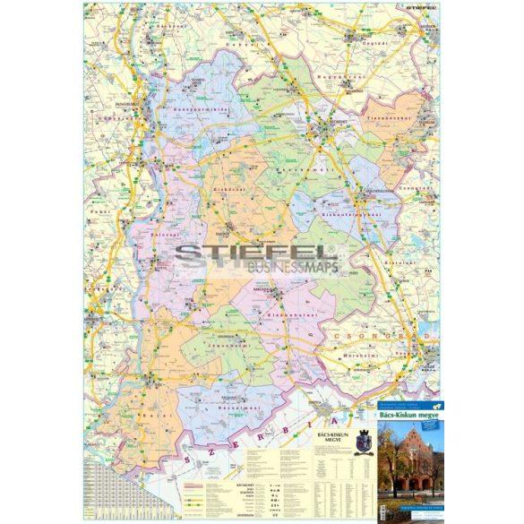 Bács-Kiskun megye térképe, tűzhető, keretes