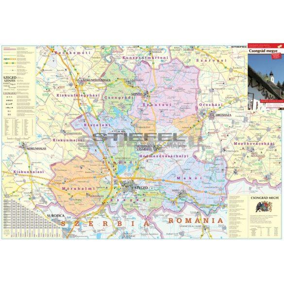 Csongrád megye térképe, tűzhető, keretes