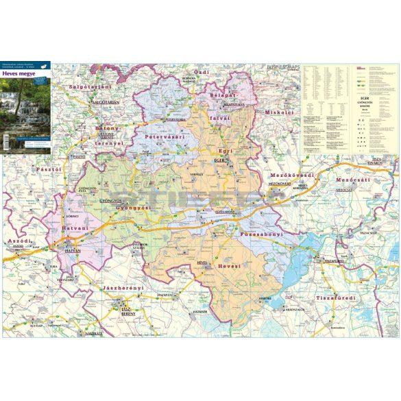 Heves megye térképe, tűzhető, keretes