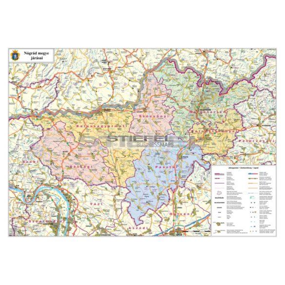 Nógrád megye térképe keretezett, tűzhető kivitelben