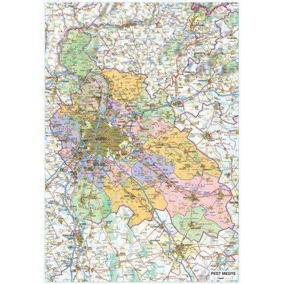 Pest megye térképe, tűzhető, keretes