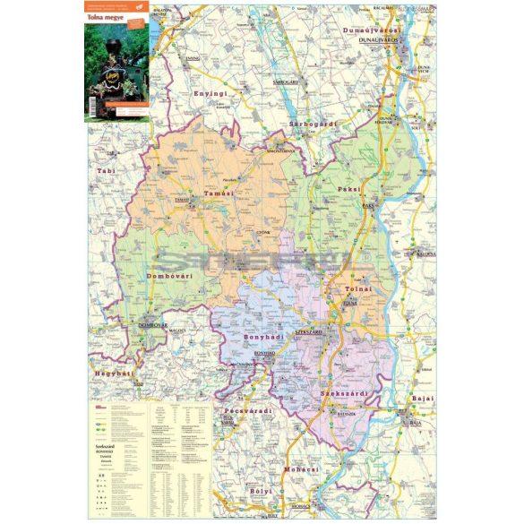 Tolna megye térképe, tűzhető, keretes