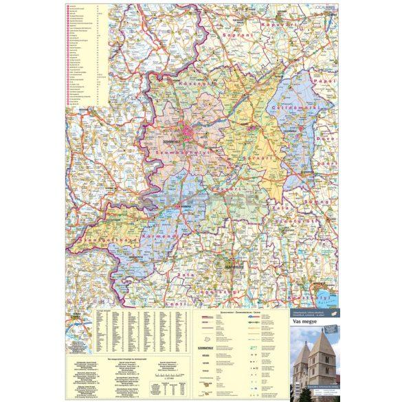 Vas megye tűzhető, keretezett térképe