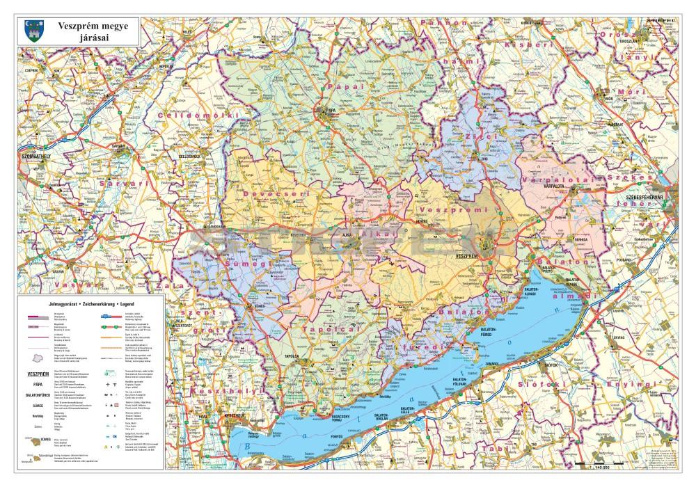 térkép veszprém Veszprém megye térképe, tûzhető, keretes térkép veszprém