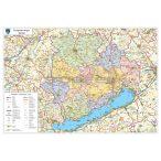 Veszprém megye térképe, tűzhető, keretes