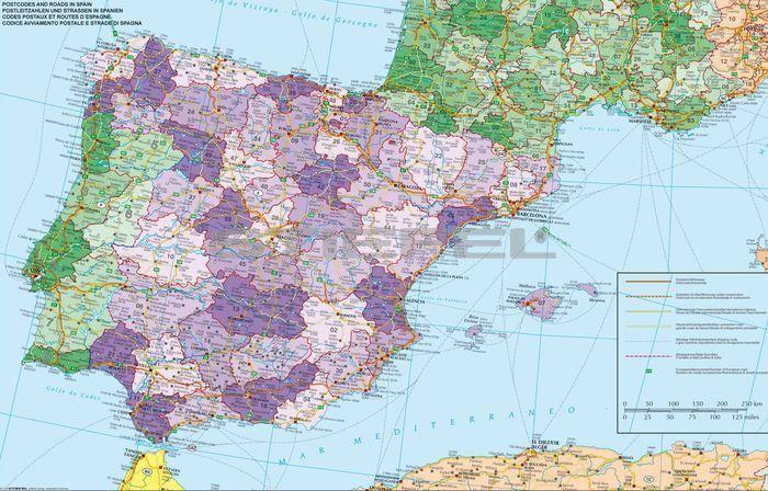 Spanyolorszag Es Portugalia Postai Iranyitoszamos Terkepe Folias
