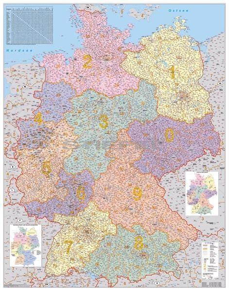 németország irányítószámos térkép Németország irányítószámos térképe tûzhető, keretes németország irányítószámos térkép