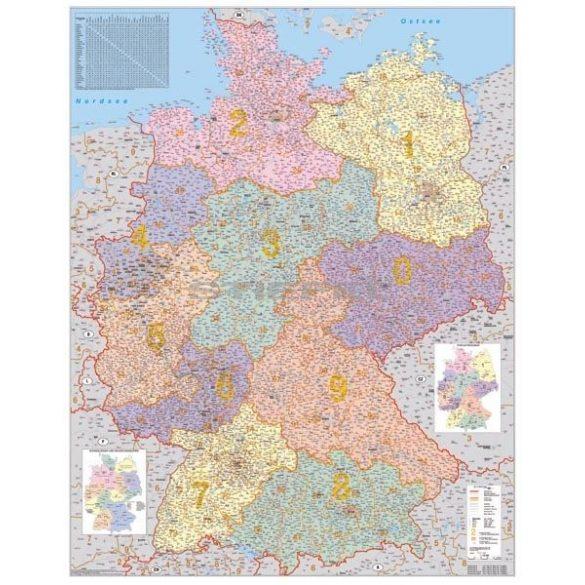 Németország irányítószámos térképe tűzhető, keretes