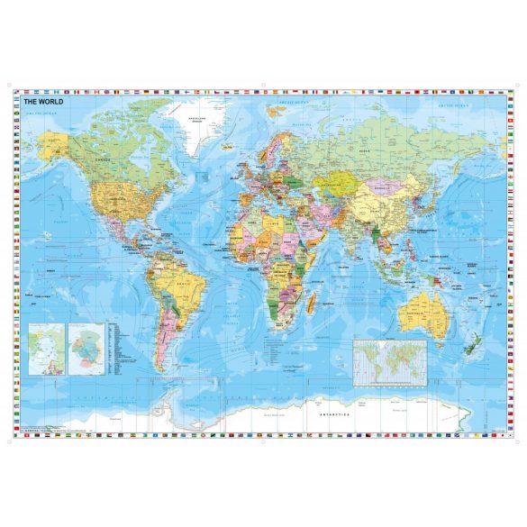 A Föld országai (Stiefel) zászlókkal, tűzhető, keretes falitérkép