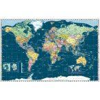 Föld országai térkép trendi színezéssel, fóliás-fémléces.