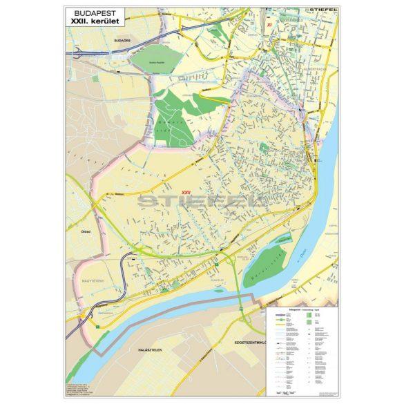 Budapest kerület térképe, keretezett, tűzhető