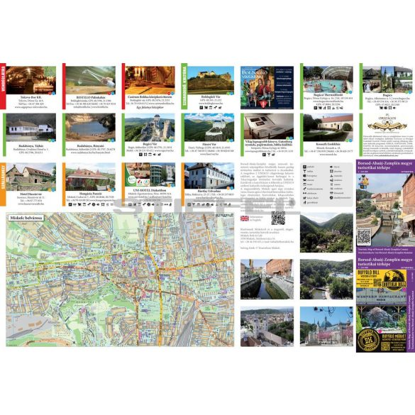 Borsod-Abaúj-Zemplén megye turisztikai kétoldalas hajtott térkép