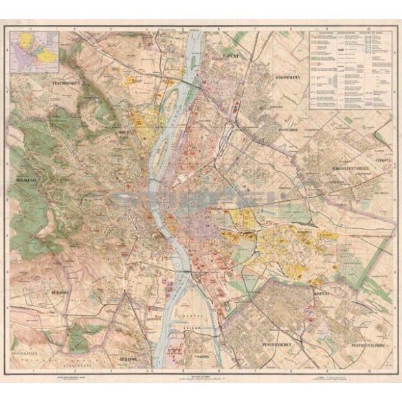 Budapest térképe fakeretben (reprint - 1927)