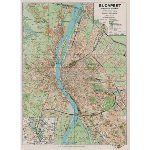 Budapest székesfőváros kézitérképe fakeretben