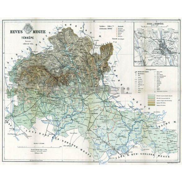Heves megye térképe fakeretben