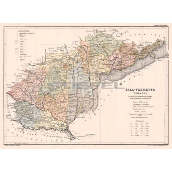 Zala vármegye térképe fakeretben