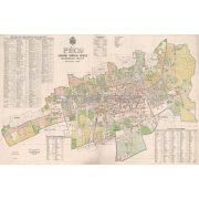 Pécs Szabad Királyi város belsőségének térképe fakeretben (1926)
