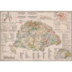 Magyarország gazdaságföldrajzi térképe fakeretben (1921)